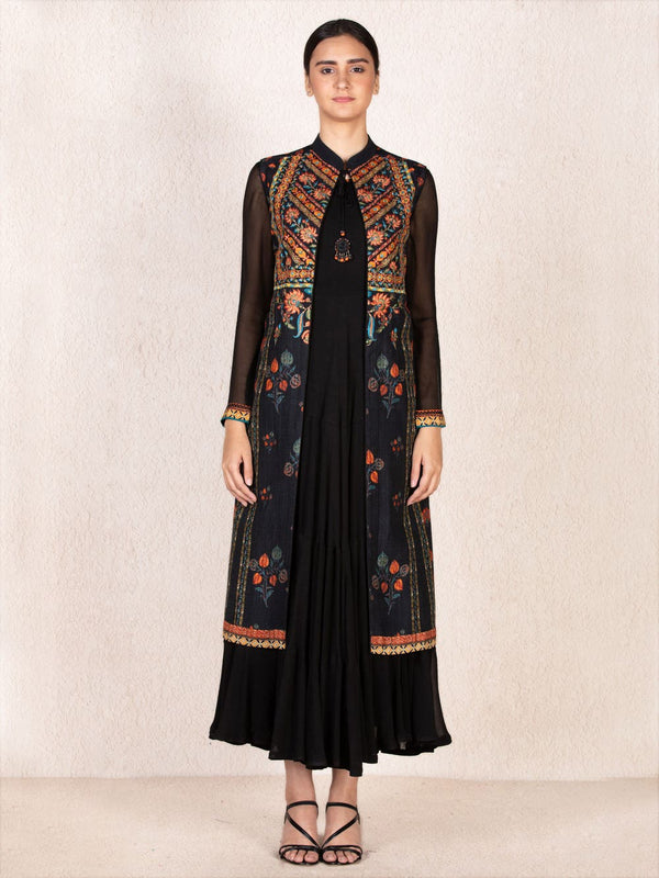 RI Ritu Kumar Black & Mustard Embroidered Dress With Jacket