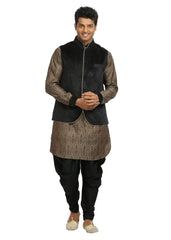 Men's Sandstone & Black Wedding Kurta Pajama with Jacket Size 40 (Rent)