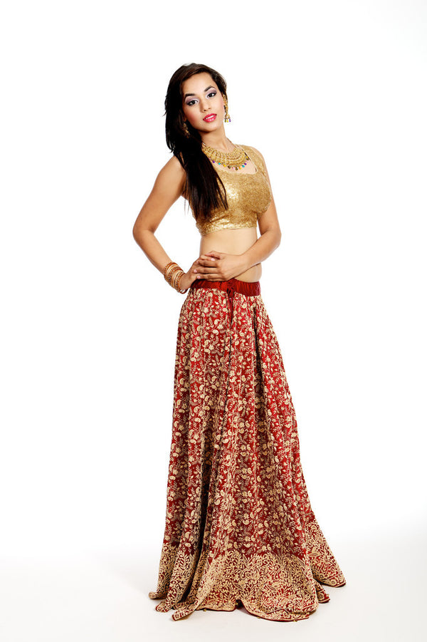 Red Bridal Lengha Choli with Sequin Blouse