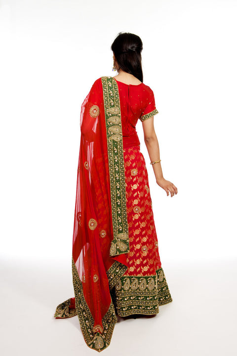 Red and Green Bridal Lehenga Choli