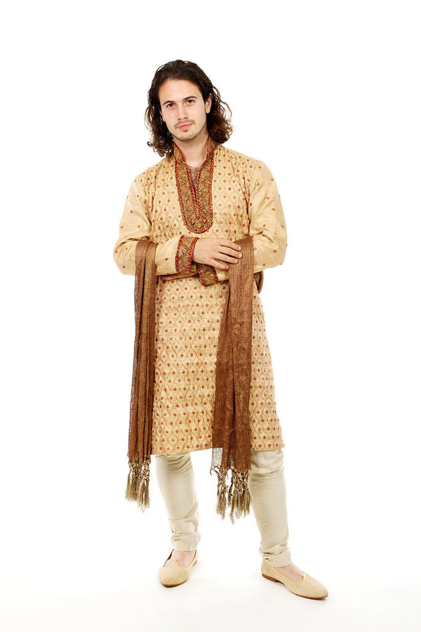 Red & Gold Sherwani for Men Size 38 (Rent)