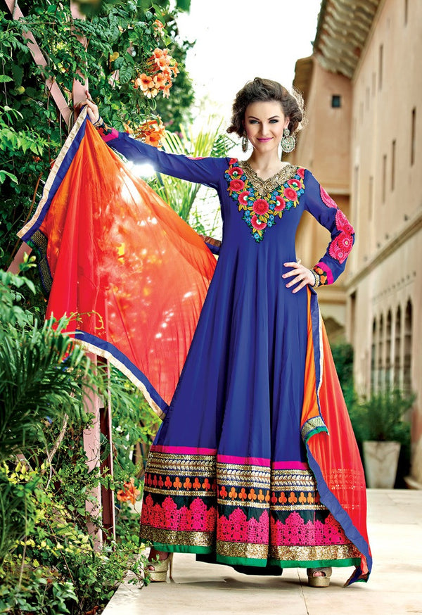 Beautiful In Blue Floor Length Anarkali Gown