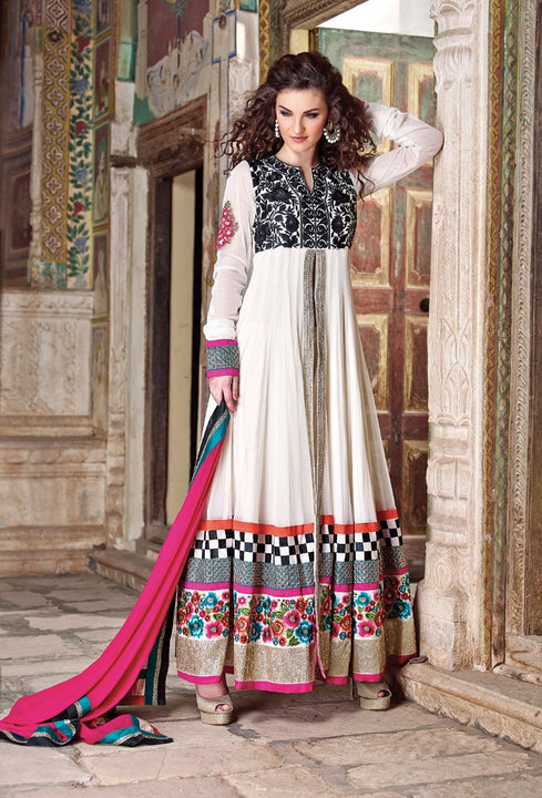 Graceful and Alluring Creamy White Long Anarkali Gown