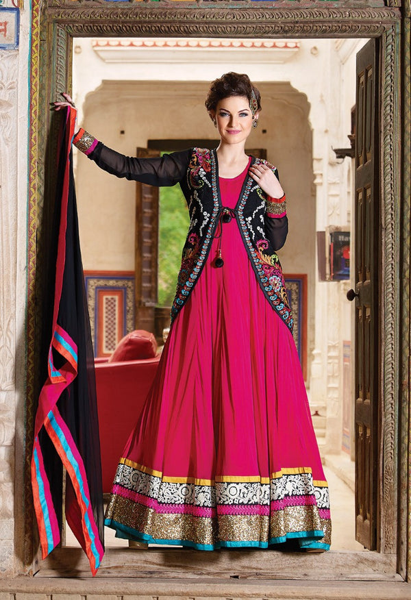 Hot Pink And Black Floor Length Anarkali Gown