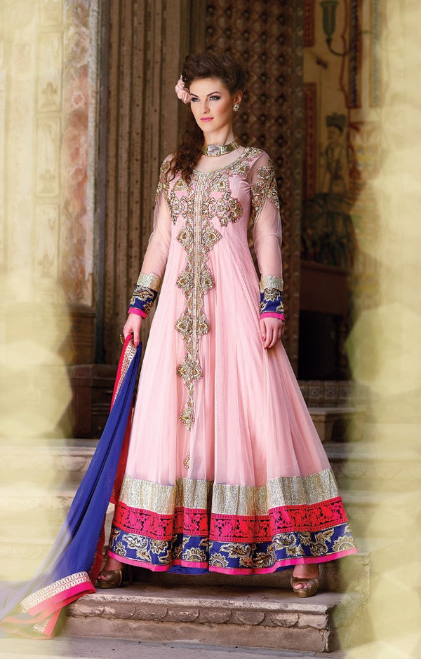 Blushing Pink Floor Length Anarkali Gown