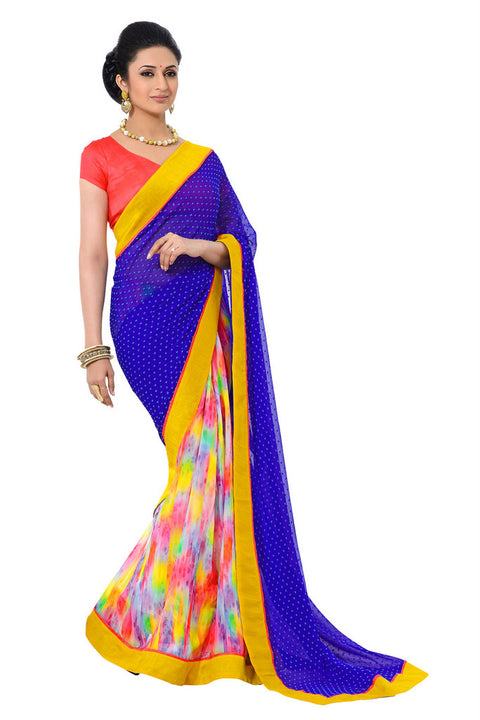 Elegant Graphic Printed Designer Royal Blue Saree D-207