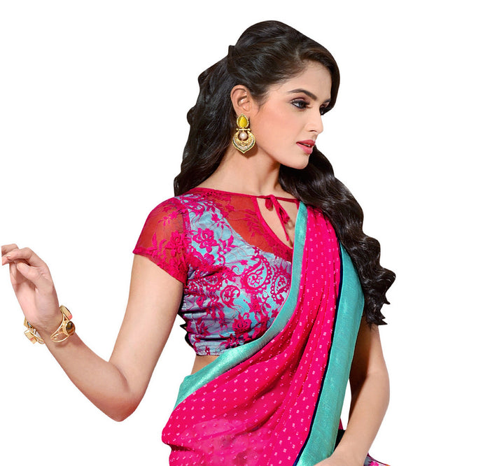Vibrant Hot Pink and Teal Colored Exclusive Designer Saree D-208