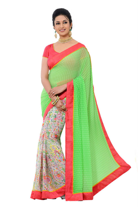 Enchanting Green and Floral Print Exclusive Designer Saree D-209