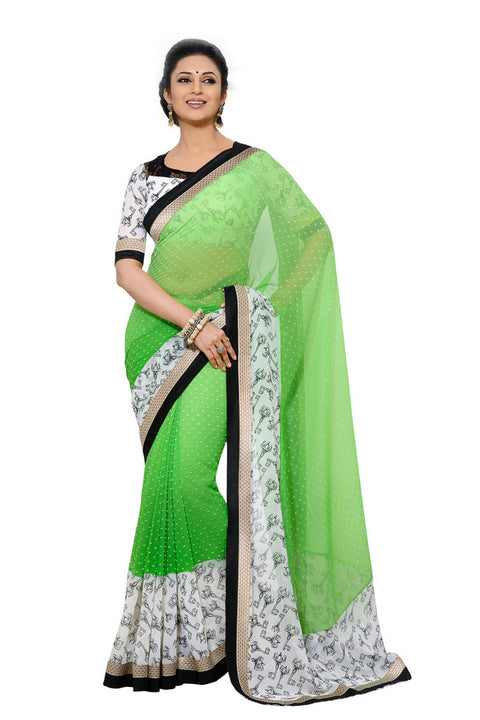 Gorgeous Green Print Bordered Designer Chiffon Saree D-213