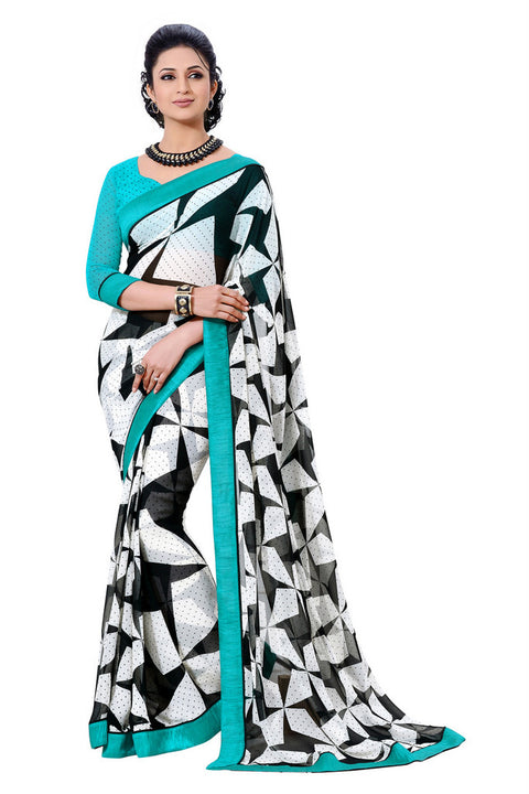 Alluring Graphic Printed Blue Bordered Exclusive Designer Saree D-215
