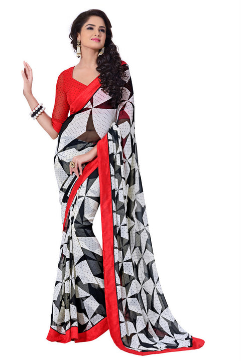 Alluring Graphic Printed Red Bordered Exclusive Designer Saree D-216