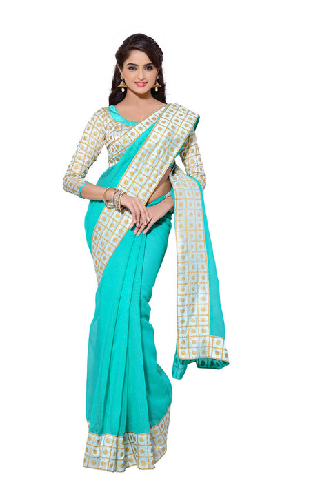 Elegant Hand Painted Mint Colored Exclusive Saree D-218