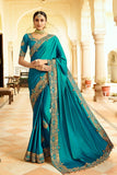 Peacock Blue Two Tone Silk Sari