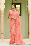 Unique Peach Georgette Simmer Sari