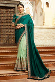 Beautiful Turquoise-Pista Silk Sari