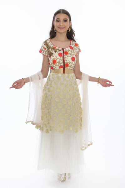 Alabaster Bloom Long Anarkali Gown