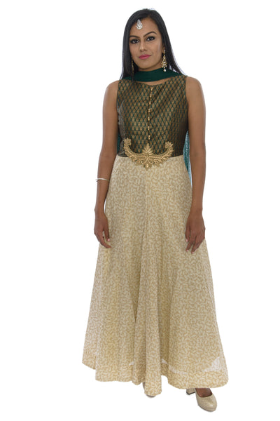 Enchanting Jade Long Indo-Western Anarkali Gown