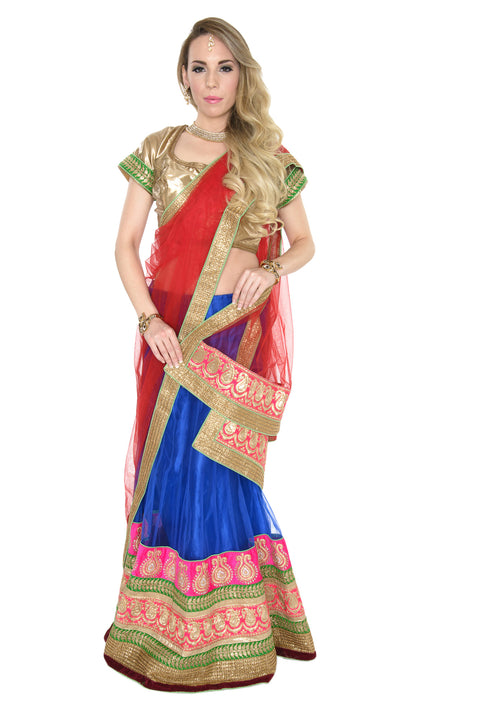 Gorgeous Red and Blue Lehenga Choli
