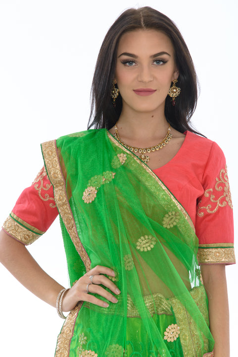 Dazzling Lime and Coral Lehenga Choli