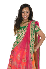 Beautiful Orange and Pink Indian Wedding Lehenga