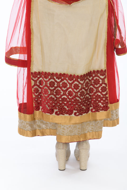 Rich Scarlet and Gold Anarkali Gown