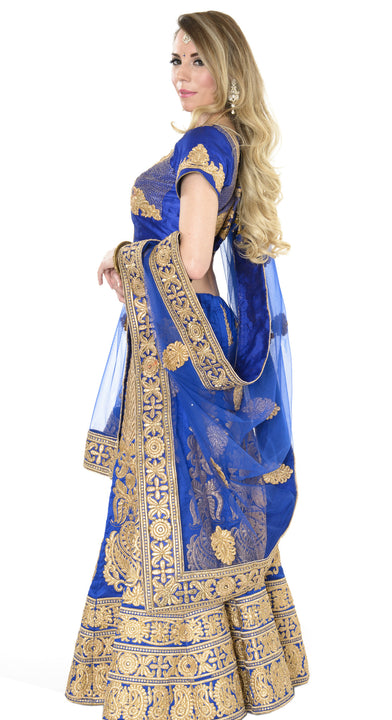 Magnificent Royal Blue and Gold Indian Wedding Lehenga