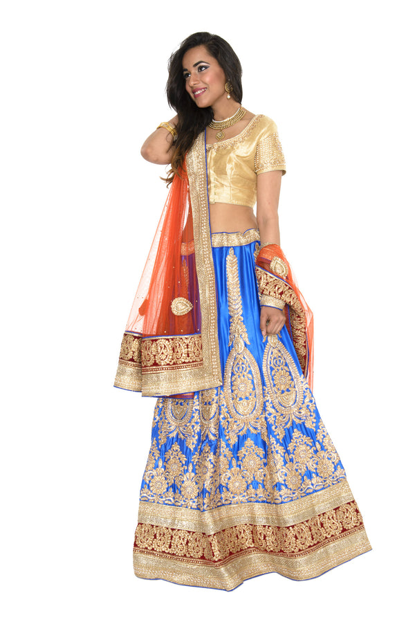 Charming Blue and Gold Indian Wedding Lehenga