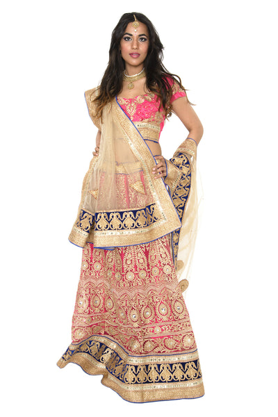 Charming Pink and Gold Indian Wedding Lehenga