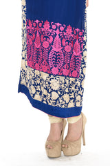 Royal Blue and Pink Long Kurti Salwar Kameez (L/XL)