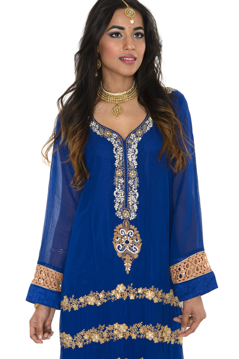 Royal Blue Wedding Long Kurti Salwar Kameez (Size M/L)