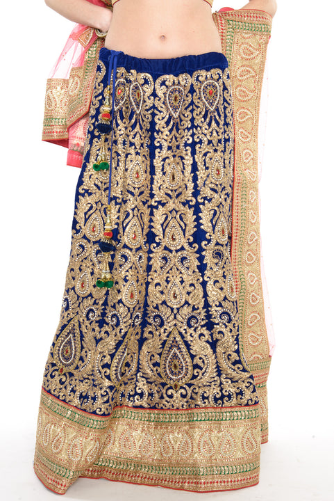 Magnificent Royal Blue Gold and Pink Indian Wedding Lehenga