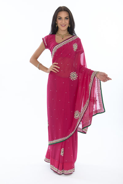 Radiant Raspberry Ready Made Pre Stitched Sari Saris And