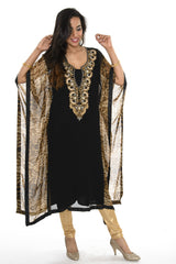 Black and Gold Animal Print Kaftan Style Long Kurti Salwar Kameez (M/L)