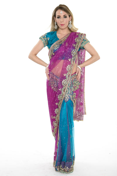 Gorgeous Pink and Blue Ready-made Sari