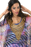 Purple and Black Print with Gold Embroidery Kaftan Style Long Kurti Salwar Kameez (M/L)