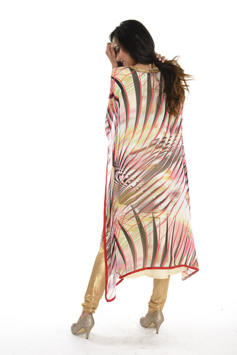Pink and Tan Print with Gold Embroidery Kaftan Style Long Kurti Salwar Kameez (M/L)