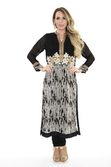 Black and White with Gold Embroidery Long Kurti Salwar Kameez (Size S)