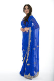 Stunning Midnight Beauty Royal Blue Pre-Stitched Sari