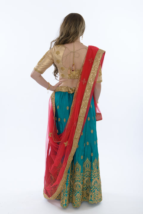 Glowing Teal and Gold Lehenga Choli