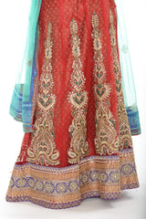 Beautiful Red and Teal Indian Wedding Lehenga