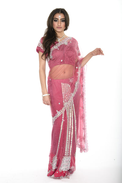 Dazzling Pink Diamond Ready-made Pre-Stiched Sari