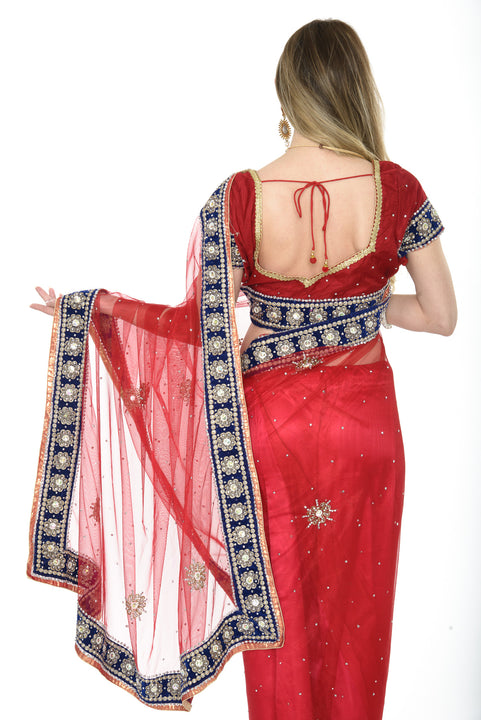 Georgous Red with Blue Border Ready-made Pre-Stiched Sari