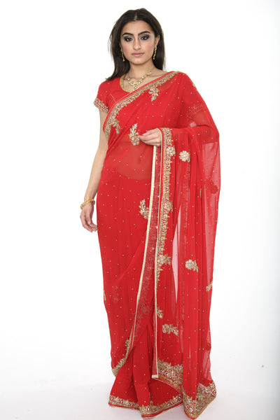 Classic Beauty Red Pre-Stiched Sari with Gold and Diamonds Border