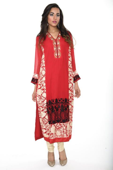 Red Beige and Black Long Kurti Salwar Kameez (Size M/L)
