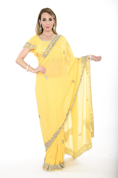 Elegant Yellow Ready-made Pre-Stiched Sari with Light Border