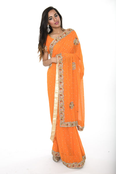 Stunning Orange Ready-made Pre-Stiched Sari with Elegant Border