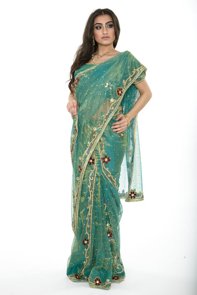 Magnificient Green Ready-made Pre-Stiched Sari