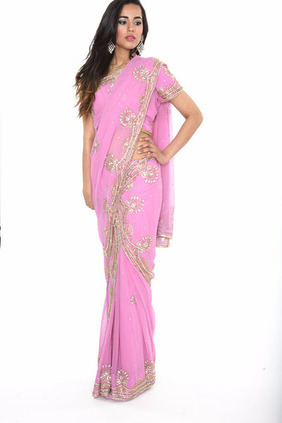 Striking Soft Pink Pre-Stitched Ready-made Sari