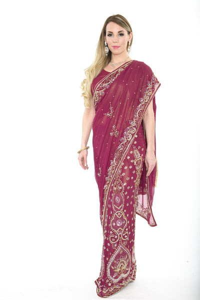 Graceful Wine Colored Pre-Stitched Ready-made Sari
