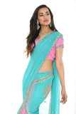Classic Beauty in Teal and Pink Pre-Stitched Ready-made Sari